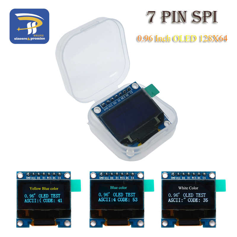 0 96 Inch SPI OLED Display Module White blue color 128X64 OLED 7Pin Yellow  blue color Driver Chip SSD1306 for arduino DIY KIT