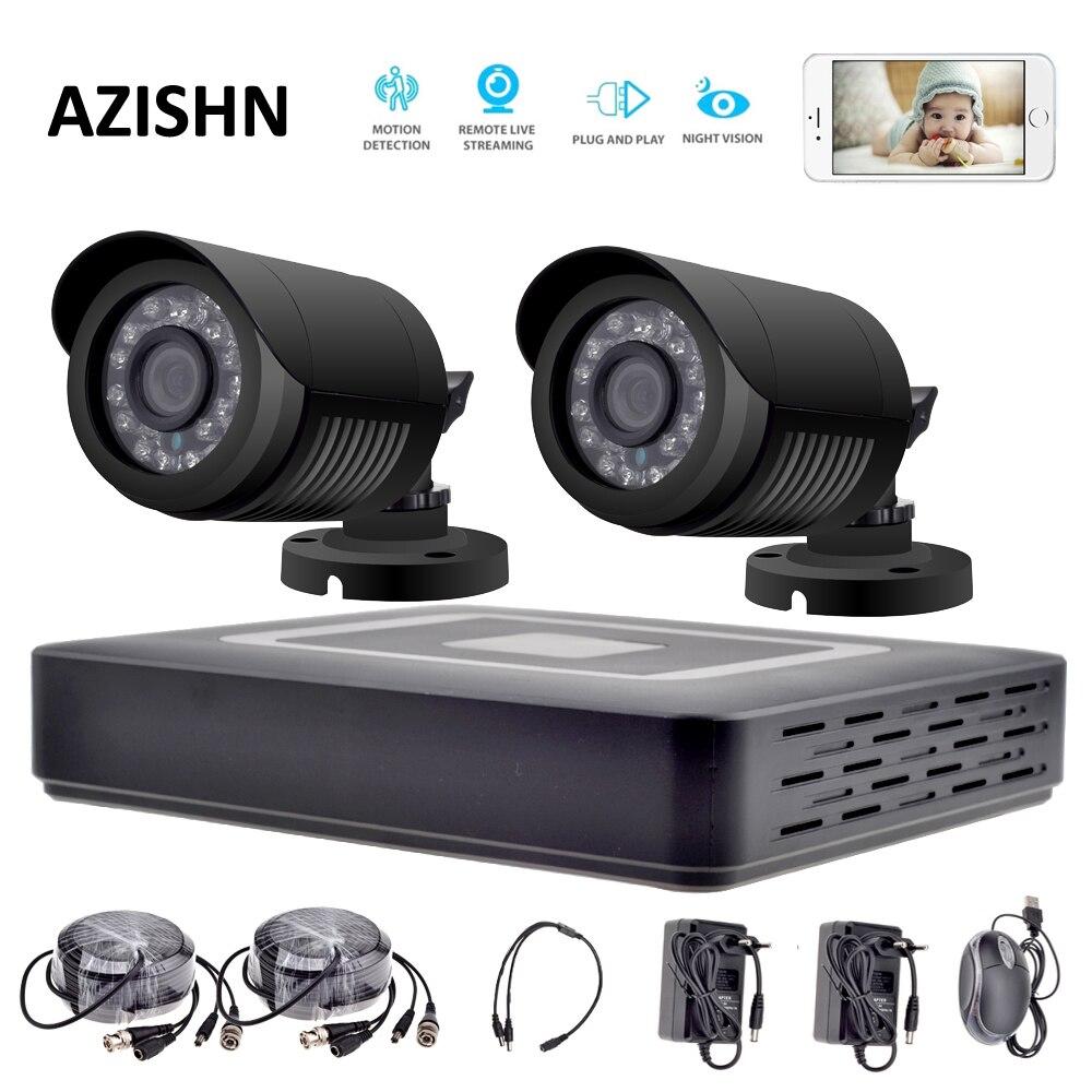 Système de caméra de sécurité HD 4CH système de vidéosurveillance 1080 P HDMI AHD DVR 2 pièces 720 P/1080 P AHD caméras CCTV IR système de Surveillance extérieure