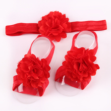 EASOV 3Pcs/Set Newborn Flower Hair Band and Foot Headwear Elastics Kids Hair Flower Accessories W039