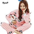 New Autumn Winter Sleepwear Women 2016 Flannel Pajama Sets Pink Warm Pijama Plus Size 2 Pieces Nightwear Suit Pijama Feminino