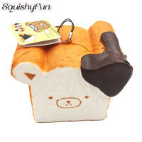Squishy Toast Bear Toys Slow Rising Mobile Phone Charm Straps Kawaii Squishy Bun Squeeze Funny Toys