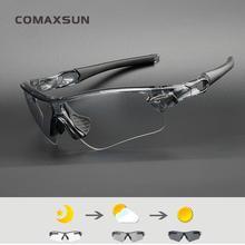 COMAXSUN Photochromic Cycling Glasses Discoloration MTB Road Bike Sport Sunglasses Eyewear Bicycle Goggles STS818
