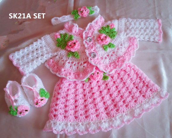 Rosebuds Baby Dress  Shoes  Belt Crochet  Yarn