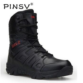 Botas militares talla grande 41-46 hombres zapatos negro desierto botas tácticas hombres al aire libre combate ejército botas para hombres bota Masculina PINSV
