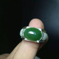 Natural green jasper Ring Natural jade Ring S925 Sterling Silver trendy luxurious big heavy Square men women's Party Jewelry