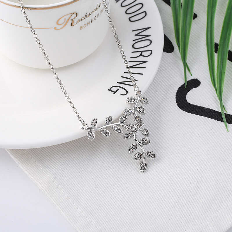 f29e17ab2cf15 TOGORY Silver Plated Sparkling Leaves Long Pendant Pandora Necklace, Clear  CZ Women Pendants & Necklaces Jewelry