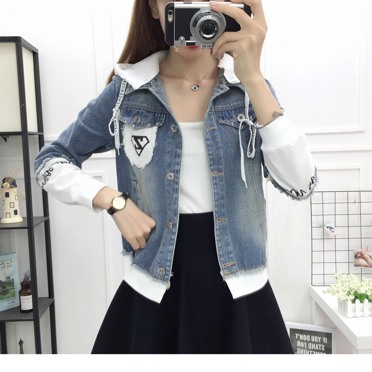 New Autumn Casual Hooded Short Denim Jacket Women Fashion Splicing Patch Coat Plus size Pockets Loose Jackets Jeans Coat Female 53