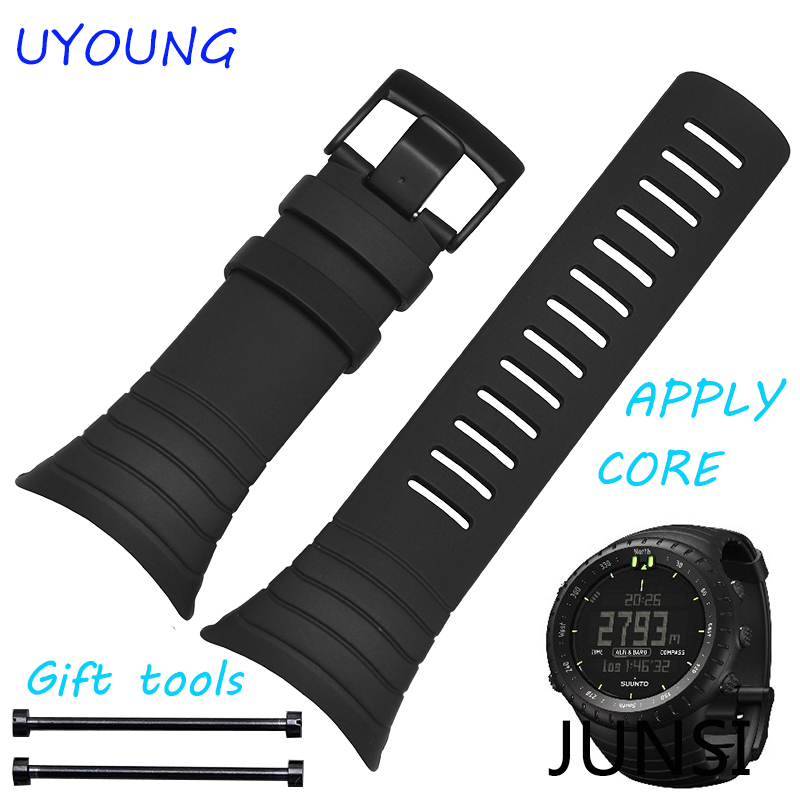 For Suunto CORE High Quality Silicone Rubber Watchband Black Sport Types Waterpoot Watch accessories Apply Suunto China issued quality pu rubber strap watch accessories for for suunto