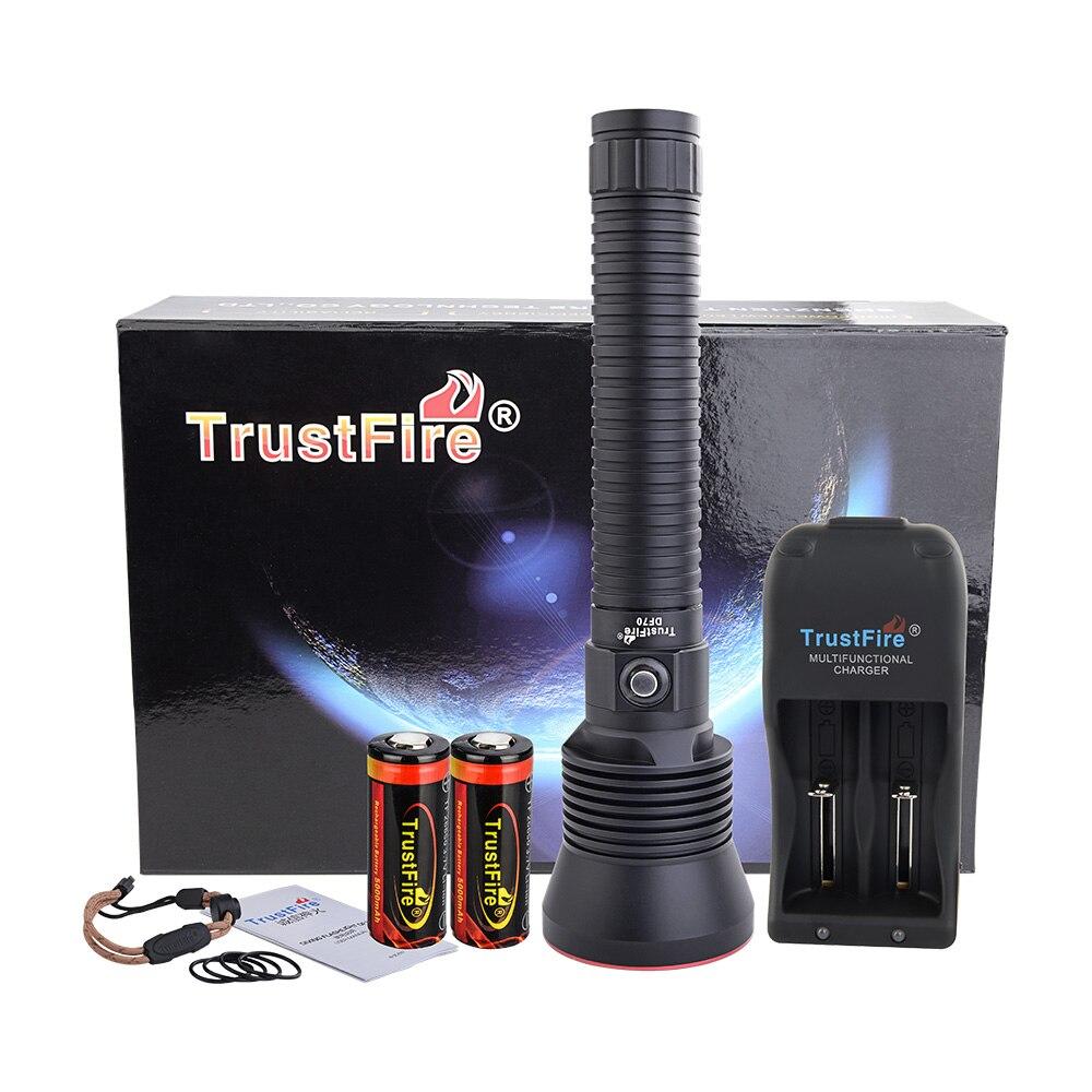 Lampe de poche de plongée TrustFire DF70 puissante 3200LM XHP70 lumière LED sous-marine 70 m torche de plongée étanche 26650 Rechargeable