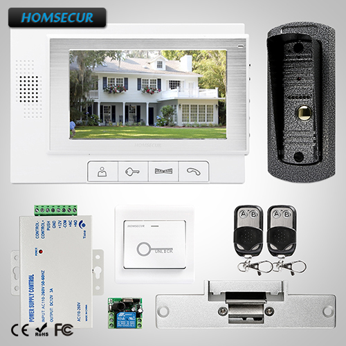 HOMSECUR 7 Wired Video&Audio Home Intercom+One Button Unlock for Home Security TC041 + TM702-W