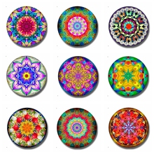 Buddhism Mandala Glass Dome Magnetic Refrigerator Stickers Hinduism Flower 30 MM Fridge Magnet Creative Home Decor
