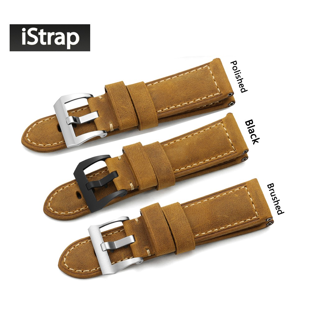 iStrap Unique 24mm 26mm Watch Strap Genuine Calf Leather Bracelet  Watch band Assolutamente Brown Suede Watchband for Panerai istrap black brown red france genuine calf leather single tour bracelet watch strap for iwatch apple watch band 38mm 42mm