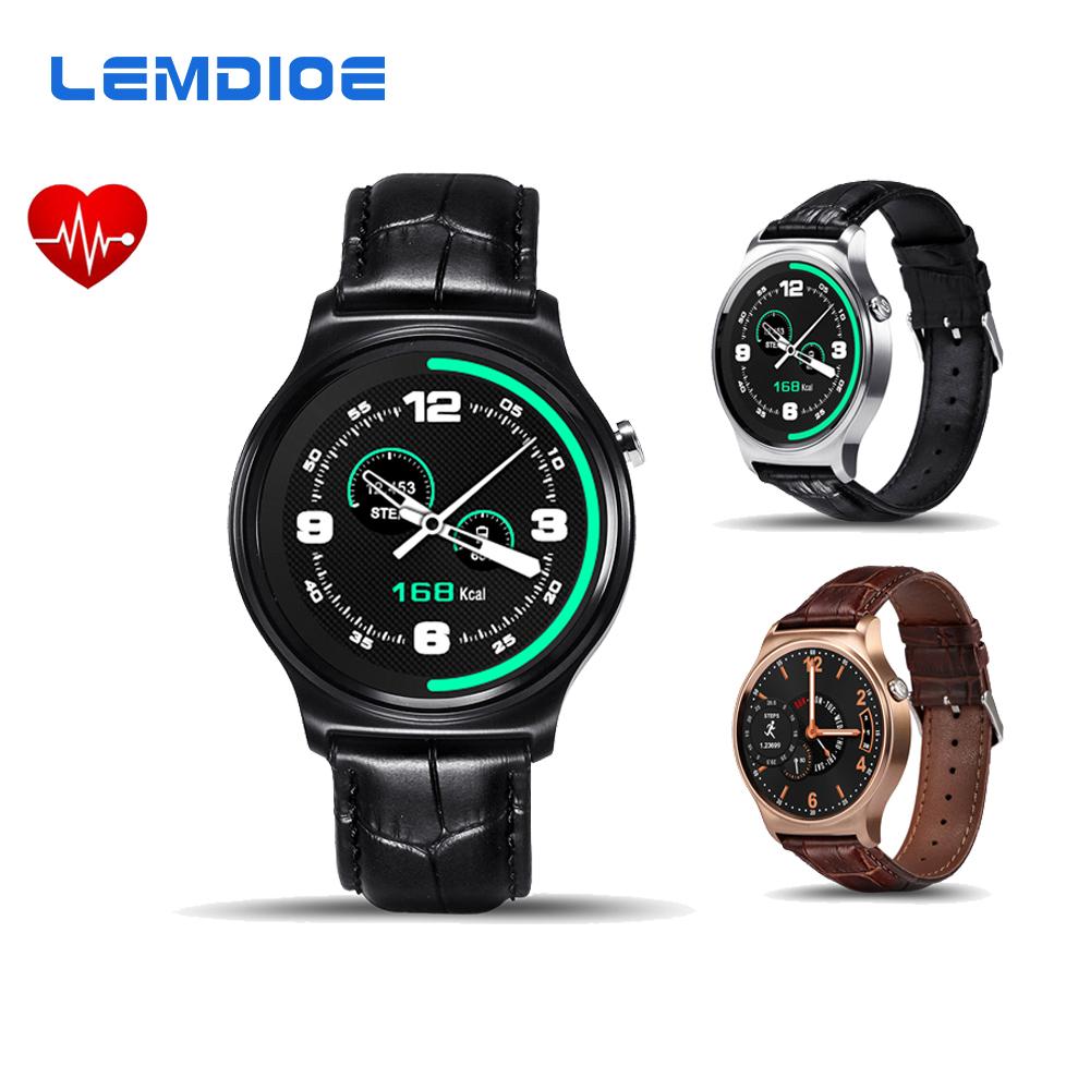 Prix pour LEMDIOE GW01 MTK2502 Smart Watch Bluetooth Moniteur de Fréquence Cardiaque Smartwatch Pour IOS Android Téléphone Bracelet En Cuir PK LF07 LEM1 K88H