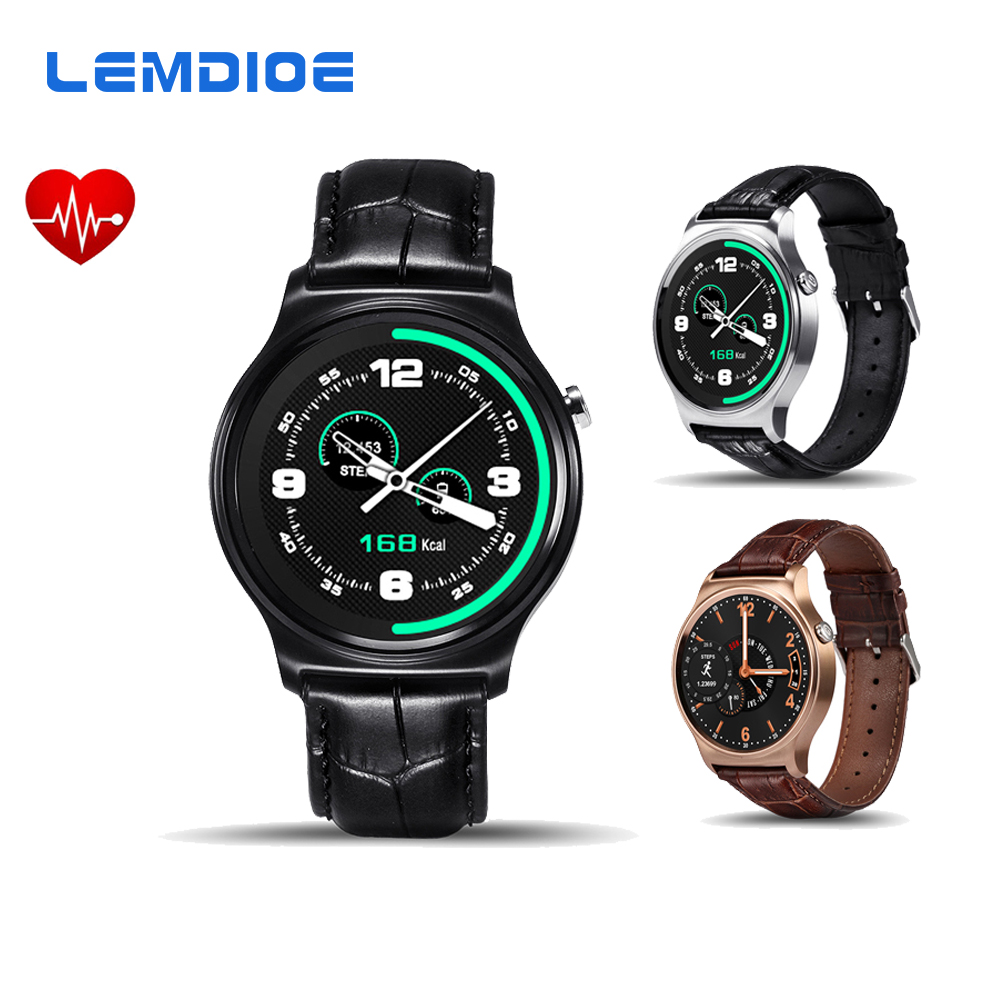 Galleria fotografica LEMDIOE GW01 MTK2502 <font><b>Smartwatch</b></font> Intelligente Orologio Bluetooth Heart Rate Monitor Per IOS Android Phone Cinturino In Pelle PK LF07 LEM1 K88H