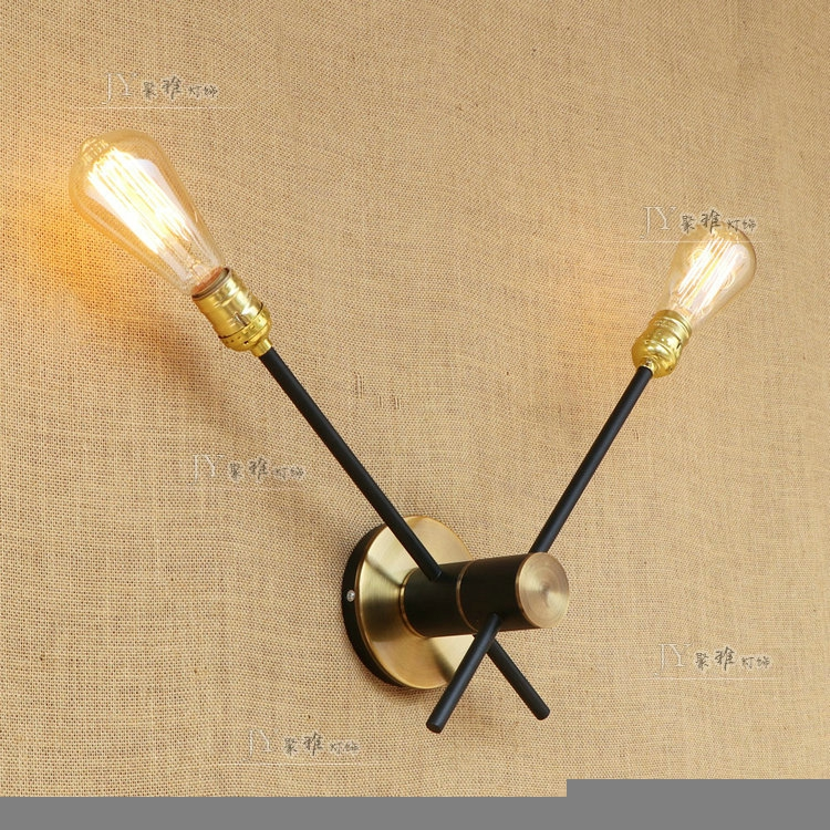 Industrial wind retroad justable lighting wall lamp   wall lights Loft creative bedroom bar cafe wrought iron double headed ZA industrial wind bar the tables and chairs chair wrought iron pot of stool