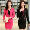 Alta Calidad Del Color Del Caramelo Trajes de Falda de Las Mujeres Diseños De Uniformes de Oficina Mujeres Nuevo Estilo Uniforme de la Oficina de Trabajo Elegante Blazer Feminino