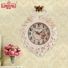 Павлин маленькие настенные часы Домашние Современные часы креативные мини часы декоративные немой двойного назначения кварцевые настенные часы