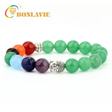 6mm Natural Stone Beads Bracelet 7 Chakra Bracelet for Men Green Aventurine Onyx Women Yoga Strand Buddha Head Bracelets(China)