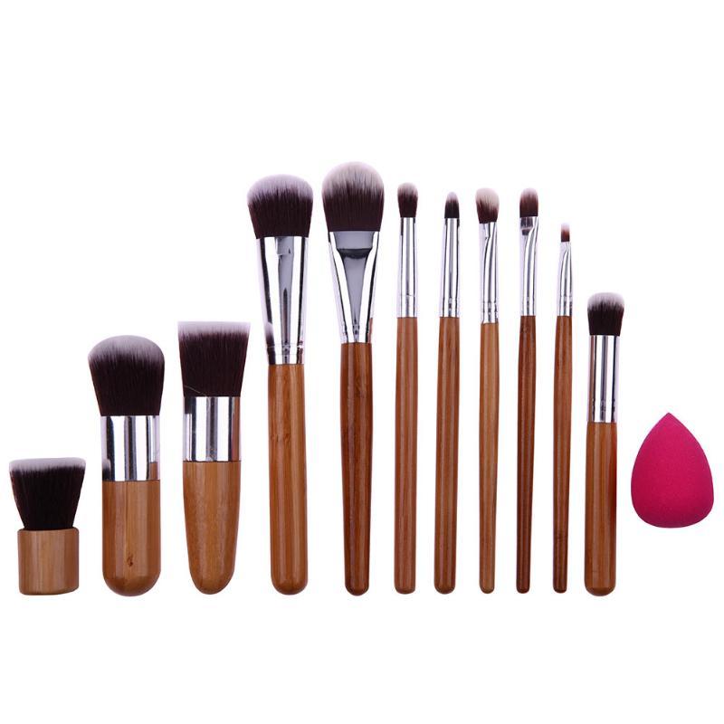 11PCS Bamboo Handle Makeup Brushes Foundation Powder Make up Brushes Water Drop Powder Puff Makeup Sponge Puff bob cosmetic makeup powder w puff mirror ivory white 02