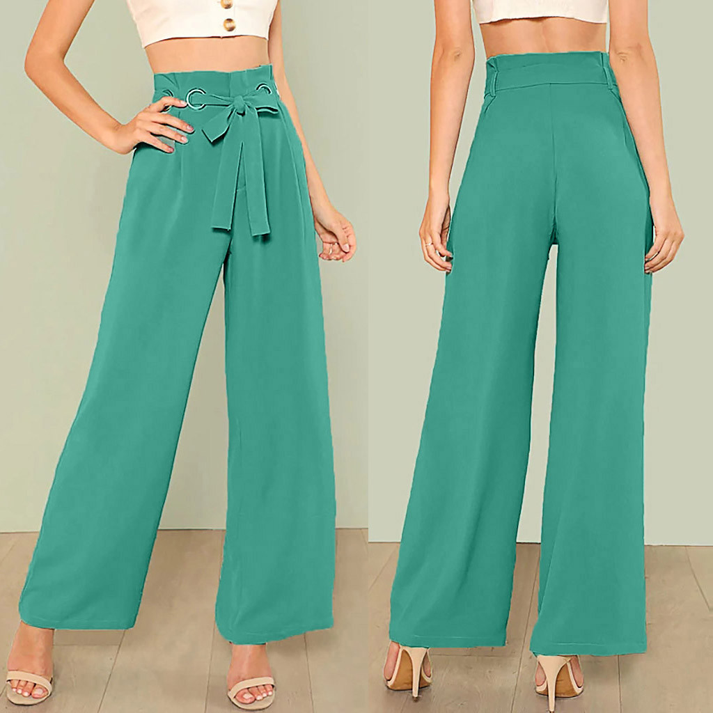 Women High Waist Pure Color Bandage Wide Leg Trousers Pockets Casual Pants Cargo Pants Women Streetwear July 11