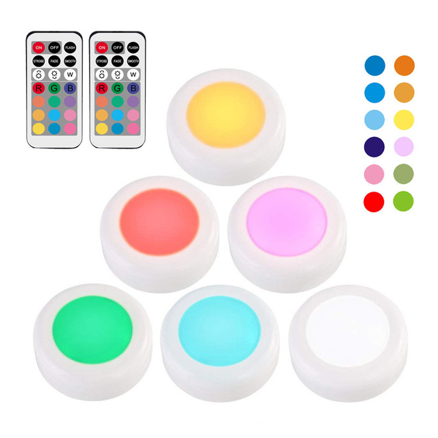 RGB 12 Colors Under Cabinet Light  Dimmable Touch Sensor LED Night Lamps Battery Power Remote Control Suitable for Kitchen Stair