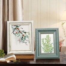1 Uds Vintage marco rectangular para fotos de la pared o escritorio de doble uso marcos para mesa de tocador pasillo decoración porta retrato