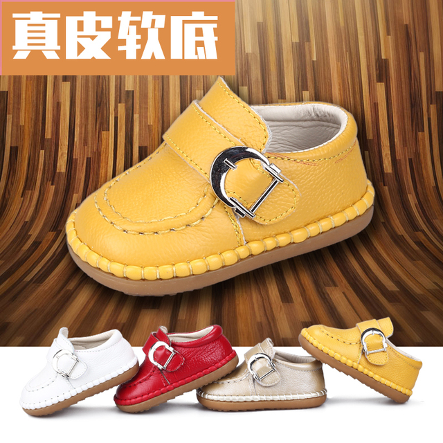 2016 autumn and winter single shoes baby shoes toddler shoes male 0 - 1 - 2 years old soft outsole genuine leather girls shoes