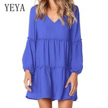 YEYA New Arrival Lantern Sleeves Loose V-neck Dress Mini Summer Pleated Irregular Female Casual Dresses Solid Sundress