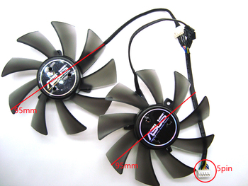 FreeShippingT129025SU 95mm 5Pin DC12V 0.38A Cooler Fan For Asus Radeon HD7970 Direct CU II HD7950 DirectCU II Video Card cooling image