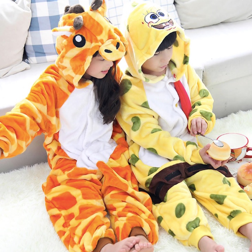 Unisex Children Clothing Giraffe Animal Pajamas sleepwear Jumpsuit kids clothes baby rompers Flannel Onesie Costumes