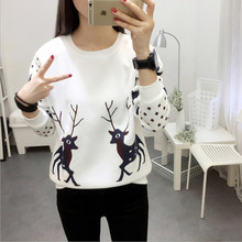 2018 New Women Hoodies Winter Thick Warm Chiristmas Sweatshirts Deer Printed Long Sleeve O-Neck Trend Pullover Female Streetwear(China)