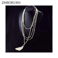 ZHBORUINI 2017 Fashion Long Multilayer Pearl Necklace Freshwater Pearl Choker Charm Zhang Ziyi In Same Jewelry For Women Gift