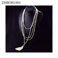 ZHBORUINI 2019 Fashion Long Multilayer Pearl Necklace Freshwater Pearl Choker Charm Zhang Ziyi In Same Jewelry For Women Gift