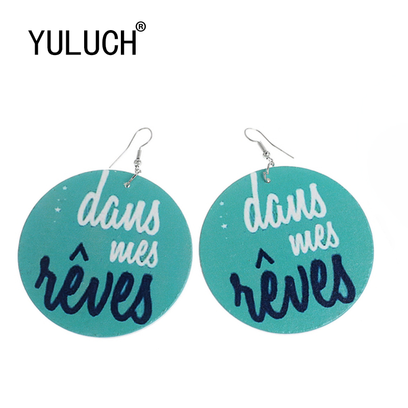YULUCH New Listing Natural Wood Print Large Pendant Earrings For Woman Personality Valentines Day Gift Party Jewelery Earrings