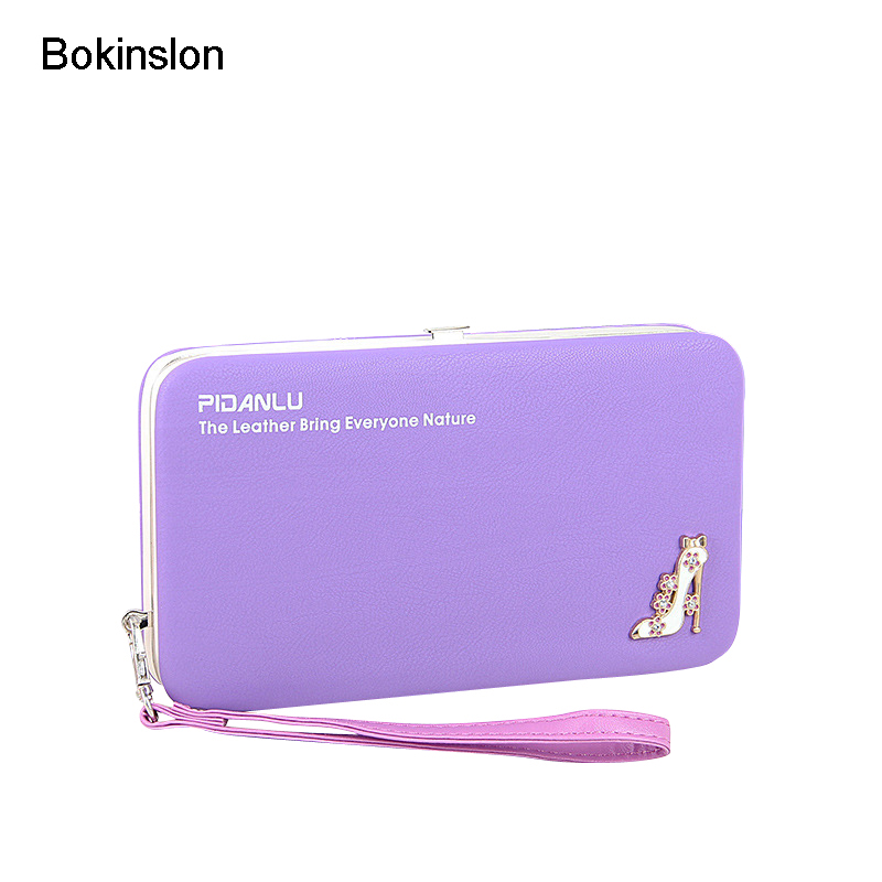 Bokinslon Coin Purse For Woman Small Fresh PU Leather Women Long Section Purse Multifunction Luscious Ladies Wallets Purse