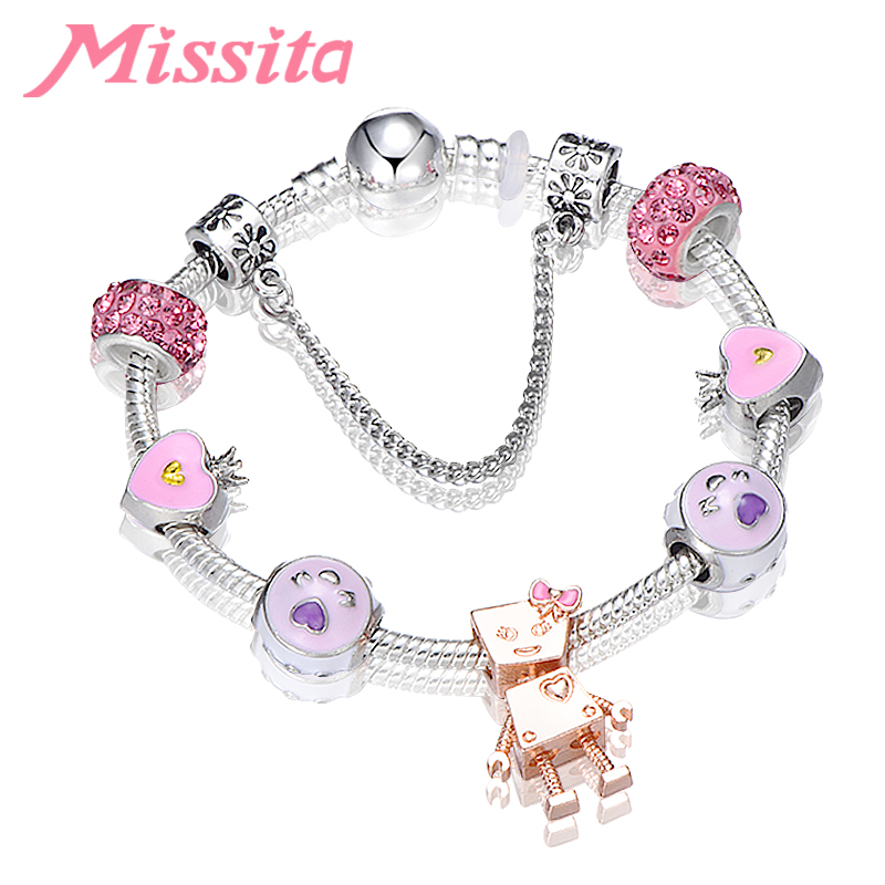 MISSITA Romantic Lovely Bella Robot Charm Bracelet with Pink Beads Brand for Women Anniversary Wedding Gift Hot Sale