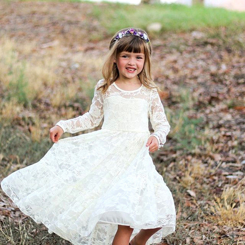 Kids Baby   Girls   Autumn Floral Sweet Fairy White Formal Long Sleeves Party Lace Wedding Princess Gown Pageant   Flower     Girls     Dress