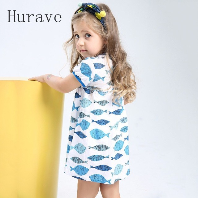 84b20a64e96a5 Hurave Fashion 2019 Girl Summer Style Children Casual Fish Print Short  Sleeve Dress Girl Cute Kids Dresses Baby Girl Clothes