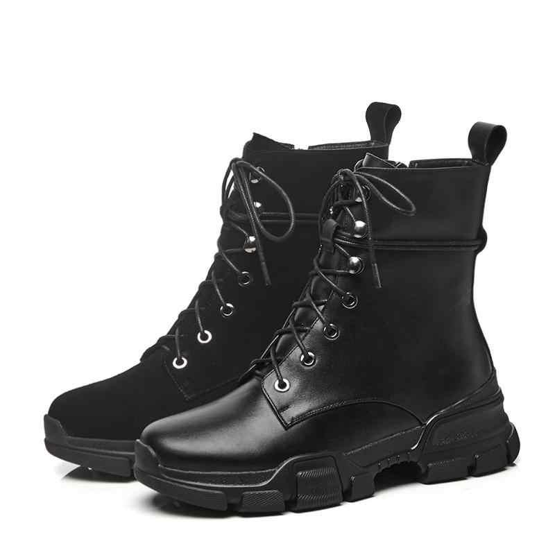 2018 siêu sao vòng toe nền tảng dây kéo da chính hãng cao gót mắt cá chân khởi động phụ nữ thanh lịch phụ nữ văn phòng bên mùa đông giày L99