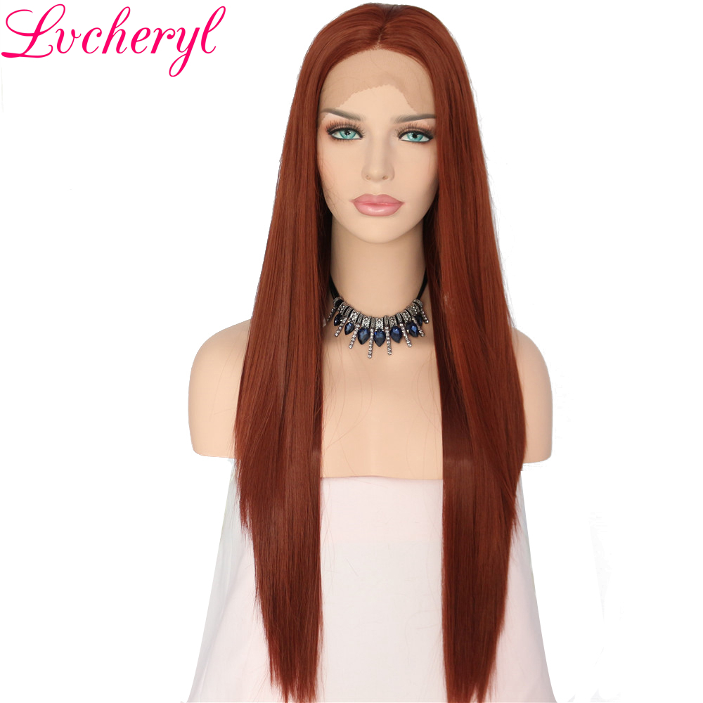 Lvcheryl Brown Long Natural Straight Synthetic Lace Front Wig Glueless High Temperature Heat Resistant Fiber Hair