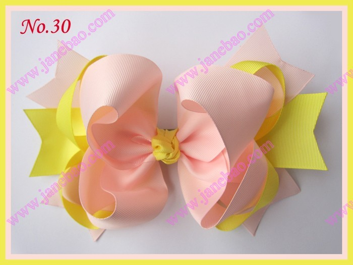 free shipping 2017 Newest 35pcs 8 big ring hair bows Mix color boutique hair clips girl