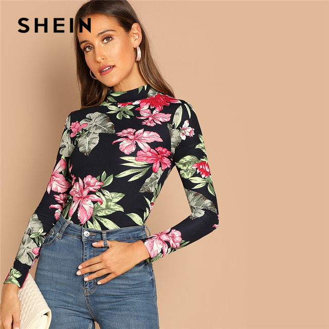 db40efed70 SHEIN Multicolor Highstreet Elegant Floral Print Mock-Neck Long Sleeve Slim  Fit Tee Autumn Women Casual Women Tshirt Top