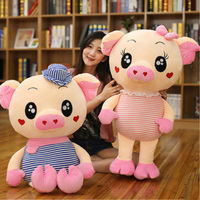 Fancytrader Giant Soft Couple Pigs Toys Stuffed Animals Pig Wear Shirt Pillow Doll 90cm 35inch