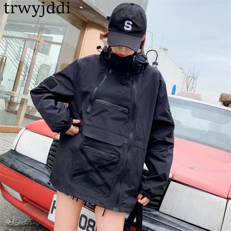 2020 New Casual Hooded Jackets Women Spring Autumn Oversize Short Windbreaker Coats Outerwear N403