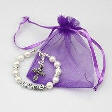 ew Girls Kid Silver Bracelet Any Name Birthday Charm Personalised Jewelry Gift