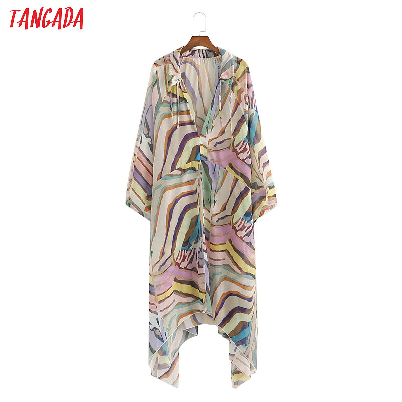 Tangada Women Boho Style Chiffon Dress Print Loose V Neck Lantern Sleeve 2019 Lady Sundress Summer Beach Dresses Vestido 1D161