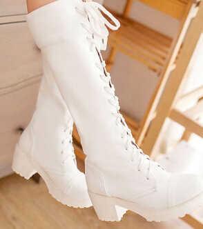 2015 nouveau mode femmes Cosplay chaussures lacets bottes Martin bottes dame chaussures noir. blanc grande taille 35-43 #4128