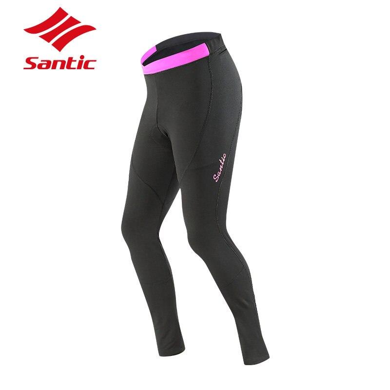 цена на Santic Cycling Pants Winter Women Thermal Bike Trousers Mountain Road Pro Padded Downhill Bicycle Pants Pantalon Ciclismo