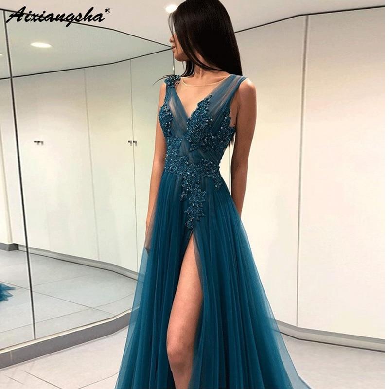 V-Neckline Beaded Appliques High Slit Tulle Open Back Evening Party   Prom   Gowns vestidos de fiesta   Prom   Long Elegant   Dresses