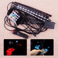 12V DC LED Car SUV Interior Floor Atmosphere Light Music Control Multi Color Decoration Lamp Wireless